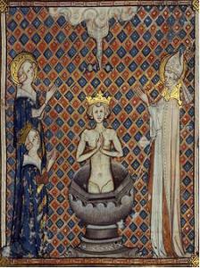Baptême de Clovis : à gauche, enluminure (BnF) ; à droite,  miniature anonyme, domaine public (BnF).